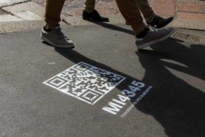 QR Code in gesso spray
